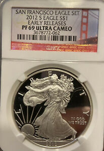2012 S PROOF SILVER EAGLE NGC PF69 ULTRA CAMEO EARLY RELEASES FROM SAN FRANCISCO