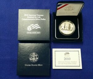 2010 DISABLED VETERANS DOLLAR PROOF COMMEMORATIVE WITH BOX AND COA