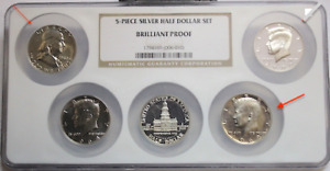 Click now to see the BUY IT NOW Price! 5  PIECE SILVER HALF DOLLAR SET BRILLANT PROOF 2 COINS ROTATED