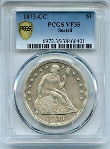 Click now to see the BUY IT NOW Price! 1873 CC SEATED LIBERTY SILVER DOLLAR PCGS VF35 $1 COIN CARSON CITY   JD752