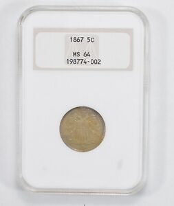 MS64 1867 SHIELD NICKEL   WITHOUT RAYS   NGC GRADED  1992