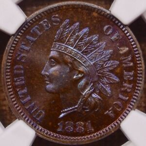 Click now to see the BUY IT NOW Price! 1881 PROOF INDIAN CENT NGC PR66 BN INSANE COLOR & APPEAL    DAVIDKAHNCOINS
