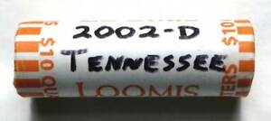 2002 D TENNESSEE QUARTER UNCIRCULATED ROLL   BANK WRAPPED UNC TN D HEADS/TAILS