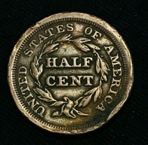 1853 BRAIDED HAIR HALF CENT LARGE 1/2C UNGRADED FILLER GOOD DATE US COIN CC998