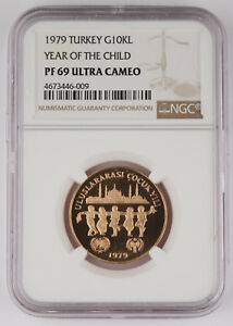Click now to see the BUY IT NOW Price! 1979  1981  TURKEY 10000 LIRA .4968 OZ GOLD PROOF COIN YEAR OF CHILD NGC PF69 UC