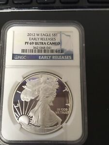 2012 W SILVER EAGLE PF 69 $1 ULTRA CAMEO EARLY RELEASES  PROOF  041