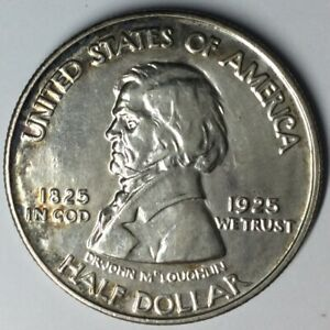1925 50C FORT VANCOUVER COMMEMORATIVE SILVER HALF DOLLAR UNC UNCERTIFIED