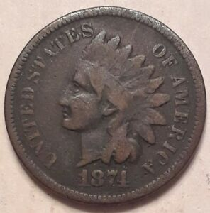 1874 1C INDIAN HEAD CENT VG