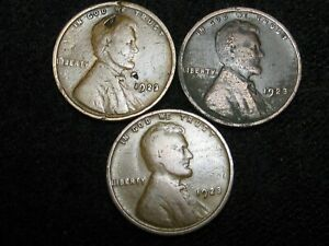 LOT OF THREE 1923 LINCOLN WHEAT PENNIES