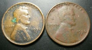 1936 D AND 1936 S LINCOLN WHEAT PENNIES