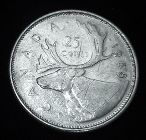 CANADA 25 CENTS SILVER COIN  1968  UNGRADED CIRCULATED