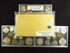 Click now to see the BUY IT NOW Price! 1949 U.S.DOUBLE MINT SET OSV ANACS COMP.GRADE  P MS65.24 D MS66.05 S MS65.98