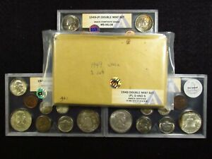 Click now to see the BUY IT NOW Price! 1949 U.S.DOUBLE MINT SET OSV ANACS COMP.GRADE  P MS66.08 D MS65.30 S MS65.30  2