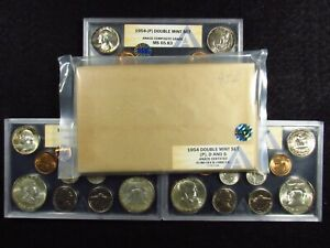 Click now to see the BUY IT NOW Price! 1954 U.S.DOUBLE MINT SET OSV ANACS COMP.GRADE  P MS65.83 D MS65.28 S MS65.58  2