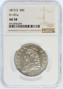 Click now to see the BUY IT NOW Price! 1817/3 CAPPED BUST SILVER HALF DOLLAR NGC AU58 O 101A 50C COIN OVERDATE   JD803
