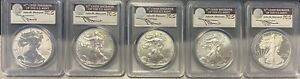 2011 SILVER EAGLE 25TH ANNIVERSARY 5 COIN SET MERCANTI PCGS 70 FIRST STRIKE
