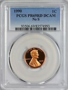 1990 NO S LINCOLN CENT PCGS PR69 RED DCAM  TOP POP   NONE FINER  ERROR