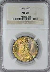 Click now to see the BUY IT NOW Price! 1934 WALKING LIBERTY HALF DOLLAR NGC MS68   INCREDIBLE TONING    IN 68
