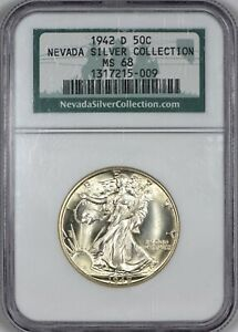 Click now to see the BUY IT NOW Price! 1942 D WALKING LIBERTY HALF DOLLAR NGC MS68   TOP POP AT NGC   NEVADA COLLECTION