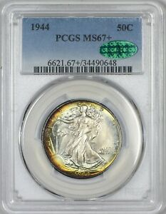 Click now to see the BUY IT NOW Price! 1944 WALKING LIBERTY HALF DOLLAR PCGS MS67   CAC APPROVED   ONLY 2 FINER AT PCGS