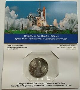MARSHALL ISLANDS   $5 COMMEMORATIVE SPACE SHUTTLE DISCOVERY COIN