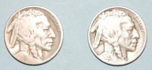 TWO BUFFALO NICKELS 1928 D AND 1929 D