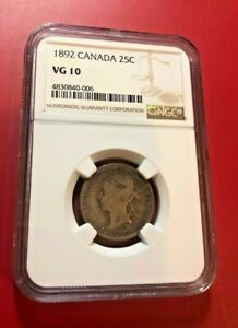 1892 CANADA SILVER 25 CENTS VICTORIA QUARTER CERTIFIED VG 10 NGC