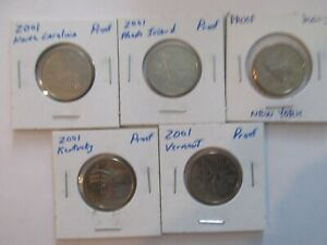 5 2001S PROOF STATE QUARTERS RHODE ISLAND N.CAROLINA NEW YORK KENTUCKY VERMONT