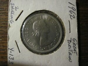 1962 UK GREAT BRITAIN 2 SHILLINGS DOUBLE ROSE COIN  NICE.