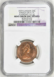 Click now to see the BUY IT NOW Price! 1979 CANADA 25 CENT STRUCK ON CENT PLANCHET   NGC UNC DETAILS   ERROR