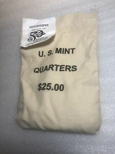 Click now to see the BUY IT NOW Price! 2002 D  MISSISSIPPI STATE QUARTER ORIGINAL MINT SEWN BAG 100 COINS