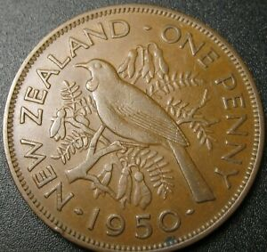 1950 EF NEW ZEALAND LARGE 1 PENNY   LOW MINTAGE   TUI BIRD   SHIPS FROM  U.S.A .