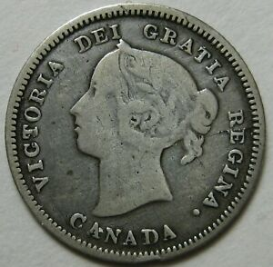 CANADA 1890 H SILVER FIVE CENTS    FINE   MINTAGE ONLY 1 MILLION   USA SHIPPING