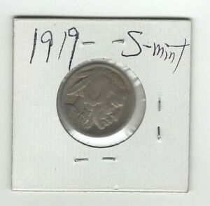 1919 S BUFFALO /INDIAN NICKEL FIVE CENT COIN SAN FRANCISCO MINT