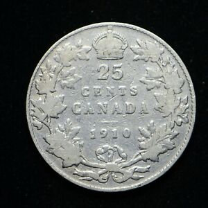 1910 CANADA TWENTY FIVE CENTS .925 SILVER COIN CLEANED FINE  BB3794