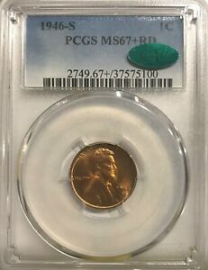 Click now to see the BUY IT NOW Price! 1946S PCGS MS67  RD CAC LINCOLN CENT TOP POPULATION  16