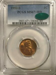 1952S PCGS MS67  RD CAC LINCOLN CENT TOP POPULATION  33