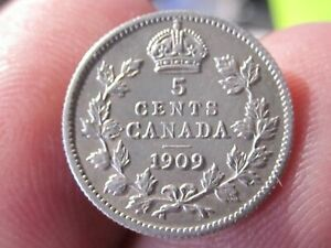 1909 CANADA 5 CENT COIN   POINTED LEAVES VARIETY   AU COND   SILVER