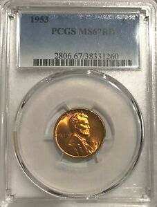 Click now to see the BUY IT NOW Price! 1953 PCGS MS67 RD LINCOLN CENT ONLY ONE COIN BETTER AT 67