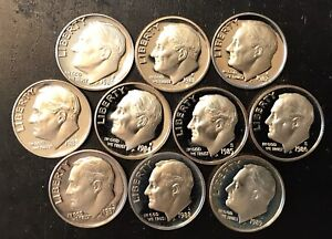 1980 1989 PROOF ROOSEVELT DIMES COMPLETE DATE RUN OF 10 COINS