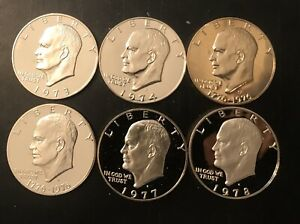 1973 1978 S EISENHOWER DOLLAR PROOF RUN CN CLAD IKE LOT US MINT 6 COIN SET