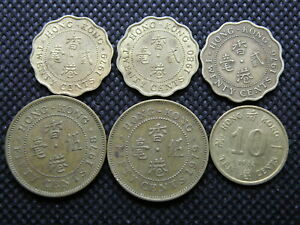 HONG KONG COIN GROUP   6 COINS   FIFTY CENTS / TWENTY CENTS / TEN CENTS  LW01