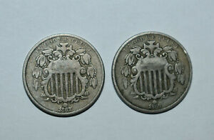 14. AN 1867 1868 SHIELD NICKELS NO RAYS IN AS SHOWN GOOD CONDITION
