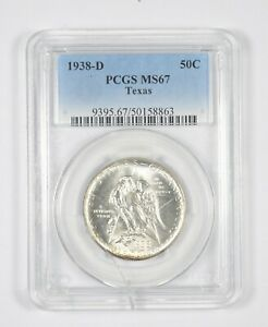MS67 1938 D TEXAS INDEPENDENCE COMMEMORATIVE HALF DOLLAR   GRADED PCGS  8069