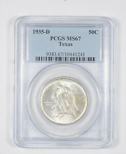 MS67 1935 D TEXAS INDEPENDENCE COMMEMORATIVE HALF DOLLAR   GRADED PCGS  8105