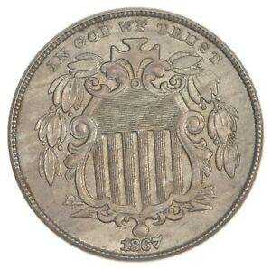 1867 SHIELD NICKEL   NO RAYS  7525