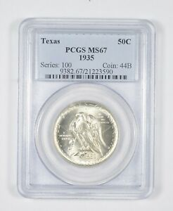 MS67 1935 TEXAS INDEPENDENCE COMMEMORATIVE HALF DOLLAR   GRADED PCGS  8087