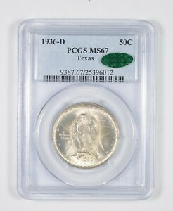 MS67 CAC 1936 D TEXAS INDEPENDENCE COMMEMORATIVE HALF DOLLAR GRADED PCGS  8086