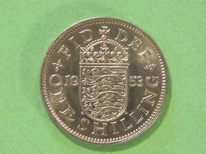 1953 ELIZABETH II UNC UNCIRCULATED ENGLISH SHILLING FRESH FROM MINT TUBE