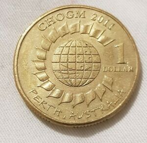 $1 2011 AUSTRALIAN COIN COMMEMORATING CHOGM IN PERTH CIRCULATED COLLECTOR'S COIN